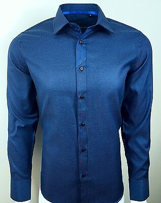 318 Casual Mens Contrast Shiny Collar Wedding Party Shirt NOW ONLY £ 17.99