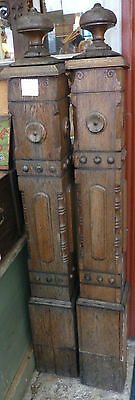 """Antique 1800's Rare Matched Oak Bannisters 61"""" x 7"""" architectural salvage stairs"""