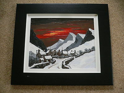 "David Barnes Original Impasto Oil Painting ""Snowbound Road near Nant Peris"""
