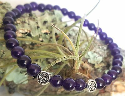 Silver Celtic Love Knot Amethyst Purple Gemstone Beaded Stretch Bracelet