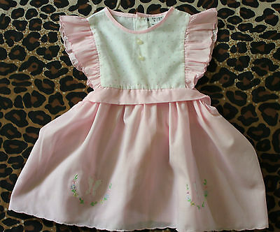 VINTAGE BABY ~ 60's 70's Pink White Frilled Rosebud Print Butterfly Emb Dress 2