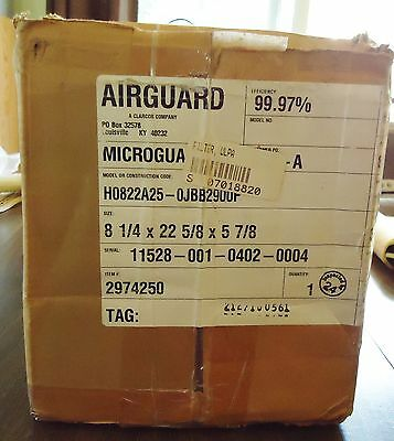 New Airguard Ulpa Filter H0822A25-0Jbb2900F, 8 1/4 X 22 5/8 X 5 7/8 Or 8 7/32 X