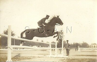 WWII Original Japanese Large Army RPPC- Equestrian Sport- Cavalry- Horse Jumps