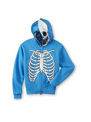 FSD Boy's Blue Costume Hoodie Jacket Skeleton Built-in Face Mask Size 4 (S) NWT