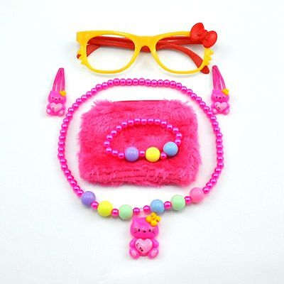 Kids Accessories Color Set Glasses Coin Purse Pearl Necklace Bracelet Hairpin