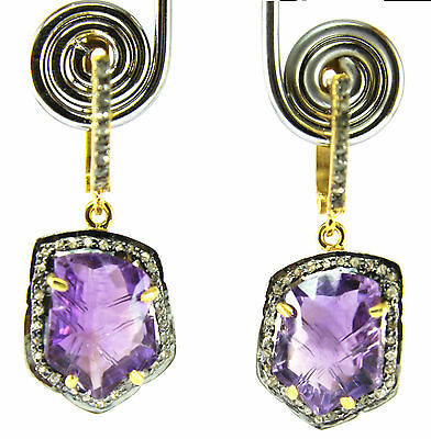 Charming Rose Cut Diamond & Fancy Cut Amethyst Studded French Lever Back Earring