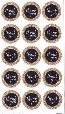30 Round Thank You Seal Stickers  Gold Black Colour