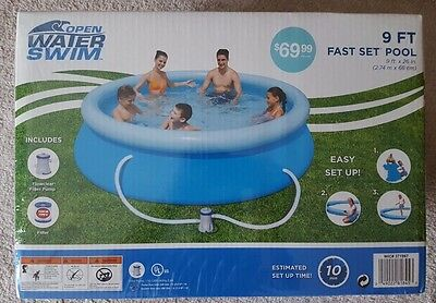 """Inflatable Pool Open Water Swim Swimming Pool 9' x26"""" 740 Gallons."""