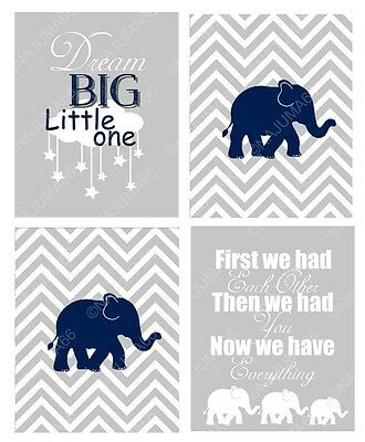 Nursery Baby Decor 8x10 Wall Art Print Lot (Set of 4) Gray & Navy Blue Elephants