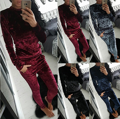 *Leisure Velvet Sportswear Tracksuit Women Long Sleeve Tops Pants Trousers Suit*
