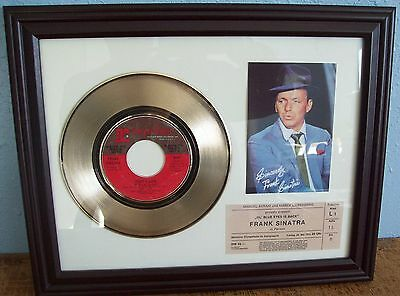 Frank Sinatra That's Life Gold 45 rpm Record +mini poster& Ticket Not a Award