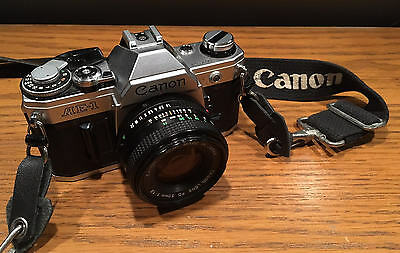 Canon AE-1 35mm Film SLR Camera w/ 50mm F1.8 Lens