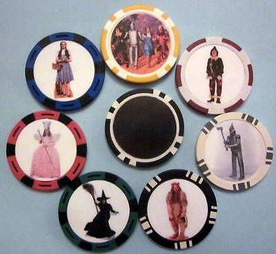 LOT of 7 Wizard of Oz Dorothy Witch Lion Tin Man Scarecrow  Poker Chip Magnets
