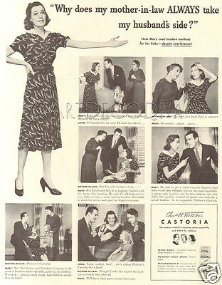 VTG 1939 Castoria Medicine Medical FUNNY Mother In Law WIFE Husband Laxative AD