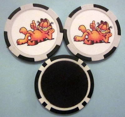 LOT of 2 Garfield Cat Cartoon Poker Chip Magnets Locker Refrigerator