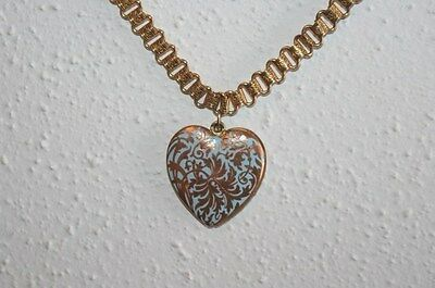 Antique Victorian Book Chain Necklace with Enamel Twist Heart Locket, 17.5""
