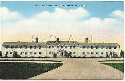 WWII Original Army PC- Camp Atterbury Indiana- Post Headquarters- 1940s