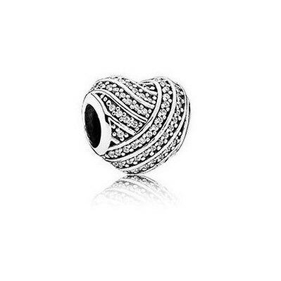 S925 Sterling Silver EUROPEAN Love Lines CZ Pave Heart Charm +FREE Pandora Cloth