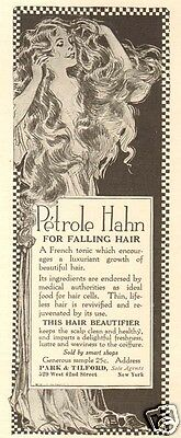 Antique 1918 Petrole Hahn For Falling HAIR Tonic Beautifier Beauty Woman Art AD