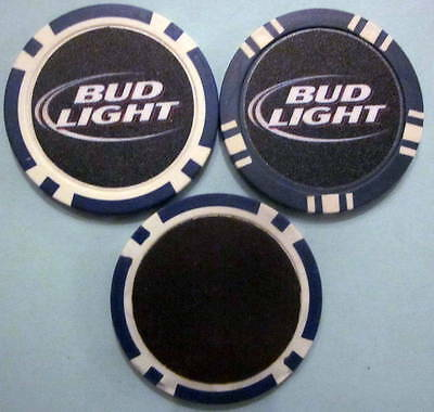 LOT of 2 Bud Light Beer Alcohol Poker Chip Magnets Locker Door Refrigerator
