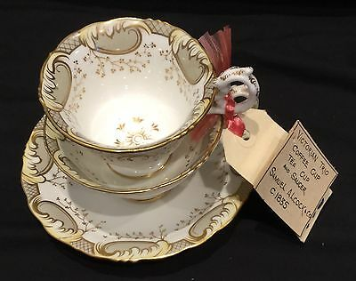19th Century English Porcelain Samuel Alcock Trio Coffee Cup, Tea Cup & Saucer