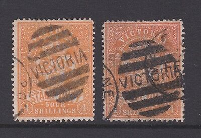 Victoria 1884  4/- Shilling Orange Red Qv Stamp Duty Pair Used (Ck101)