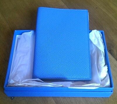 Smythson Nile Blue Panama Passport Cover Brand New Boxed