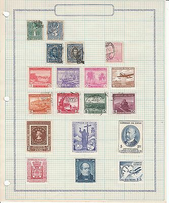 Chile - 19 stamps on sheet - Used/MH