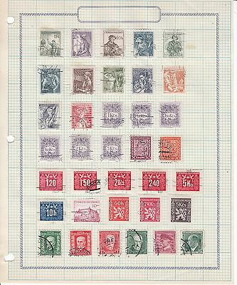 Czechoslovakia - 86 stamps on 4 sheets Used/MH