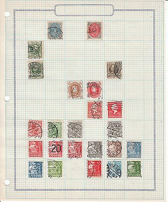 Denmark - 78 stamps on 3 sheets - Used