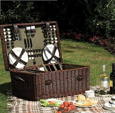 Willow Deluxe 6 Person Picnic Hamper Basket Brand New