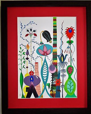 """Original Acrylic painting.""""JungleFloor"""" .Framed and mounted.14x12ins"""