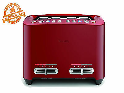 Smart Toaster 4 Slice Breville Lift & Look Touch Motorised Toast Crumpet Red New