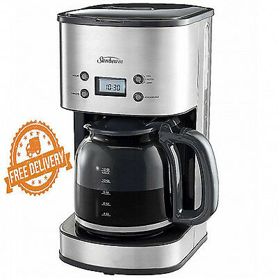 Coffee Maker Machine Programmable Espresso Drip Filter Stainless Sunbeam 12 Cup