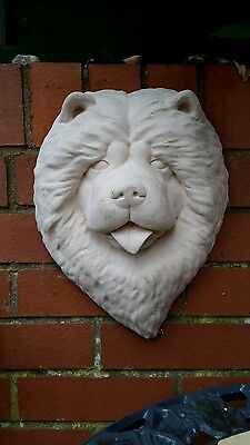 Bespoke Garden Ornament - Chinese Chow Dog - Concrete Flush Fitting Wall Plaque