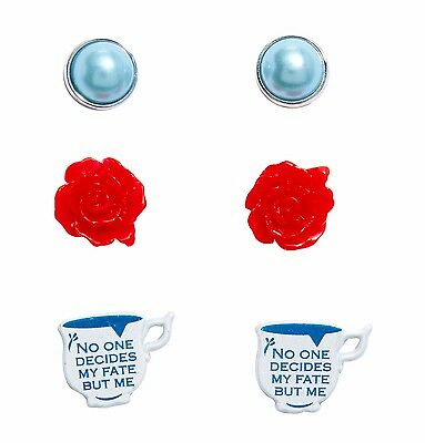 Disney ABC ONCE UPON A TIME BELLE 3 PAIR STUD EARRING SET Officially Licensed