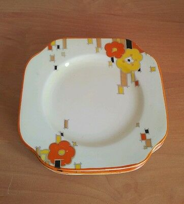 Art Deco set of six saucers  side plates from Homeleigh Mayfair 1930's