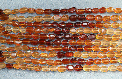 Hessonite Garnet Smooth Oval Beads 7-8mm A Grade - Full Strand