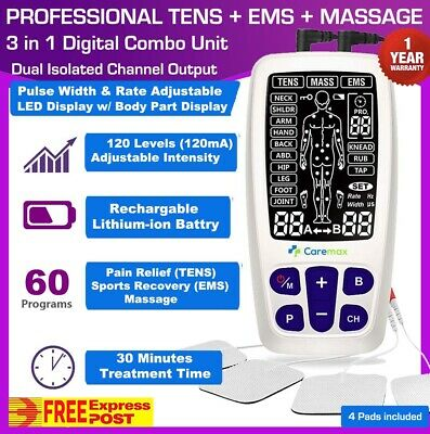 Dual Channel TENS Machine EMS 3 in 1 Combo Unit Pain Relief Massager