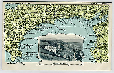 Geographical Series Antique Postcard 686 Map & Photo Of Pwllheli