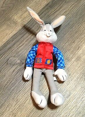 """Looney Tunes Bugs Bunny Shell Promotional 9"""" Soft Toy Plush- Good Condition-1999"""