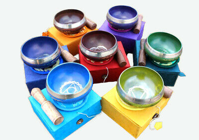 Seven Chakra Signs Embossed Painted Singing Bowls with Cushions and Stupa Sticks