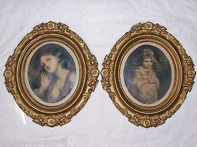 Pair Antique Ornate Gold Framed English Art Chic Deco Painting Prints deco