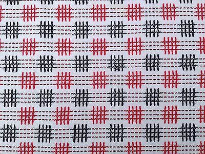 Vintage 1950s red and black cotton tablecloth 105cm x 75