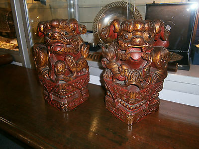 Large Antique 18Th Century Chinese Fu Foo Dogs Buddhist Lions Gold Lacquer Qing