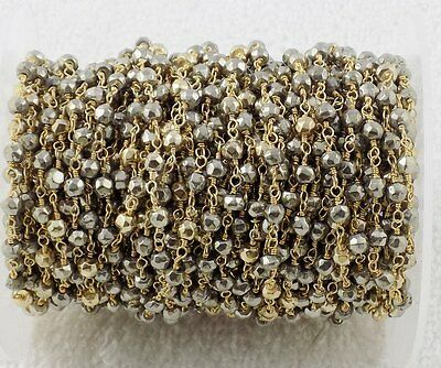 50 Feet Natural Pyrite Gold Pyrite 3-4mm Faceted 24k Gold Plated Rosary Beaded