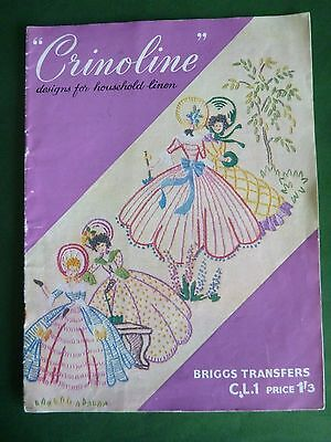 Vtg Embroidery Book by Briggs Transfers - Crinoline Designs for Household Linen