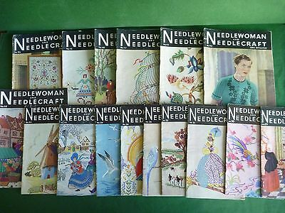 Job Lot of 17 Vintage Needlewoman and Needlecraft Pattern Books with Transfers
