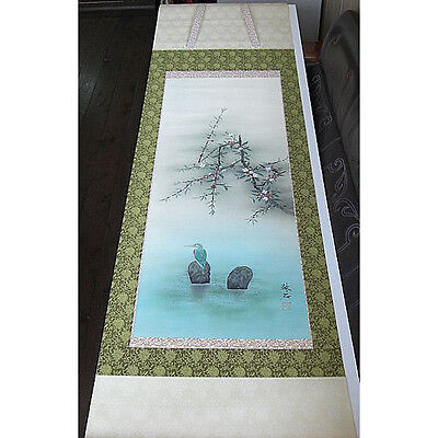 japanese hanging scroll   Japanese quince and kingfisher
