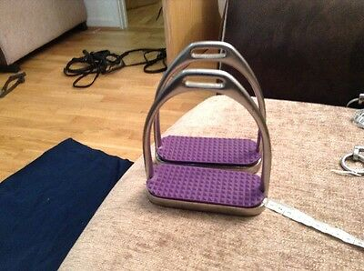 4.75 Inch Stirrup Irons With Purple Treads